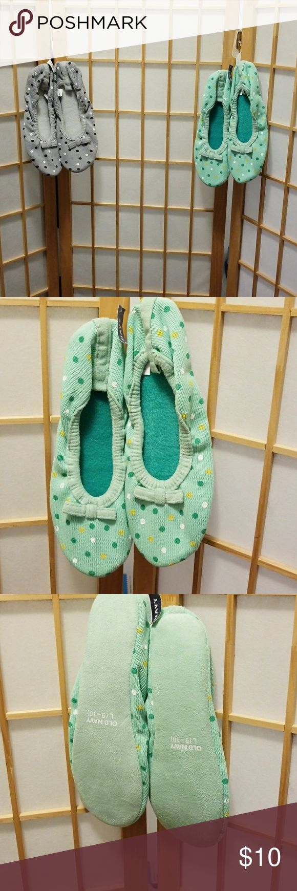 Bundle of Old Navy slippers  sz 9/10 Comfortable  New Fun polkadots. Upper 100 polyester  Lining and sock 100 polyester  Putter sole 100 polyester Old Navy Shoes Slippers