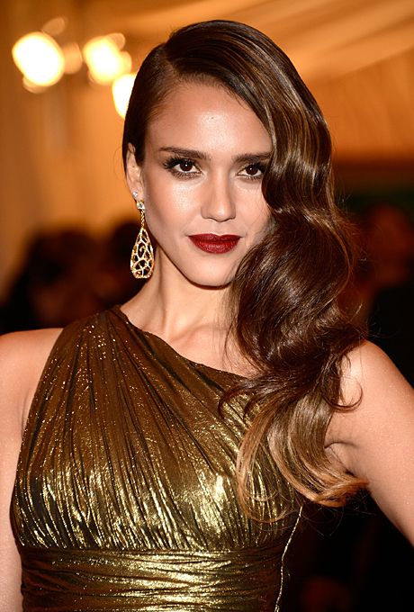 Great Gatsby inspired wedding beauty. Smooth-as-silk waves are Old Hollywood-gone-gorgeous and a wedding-day must for brides wearing their hair down. Jessica Alba's deep red lips are also a nod to one of the most popular shades from the '20s.   Yes!  Hair and makeup match the vintage dress perfectly