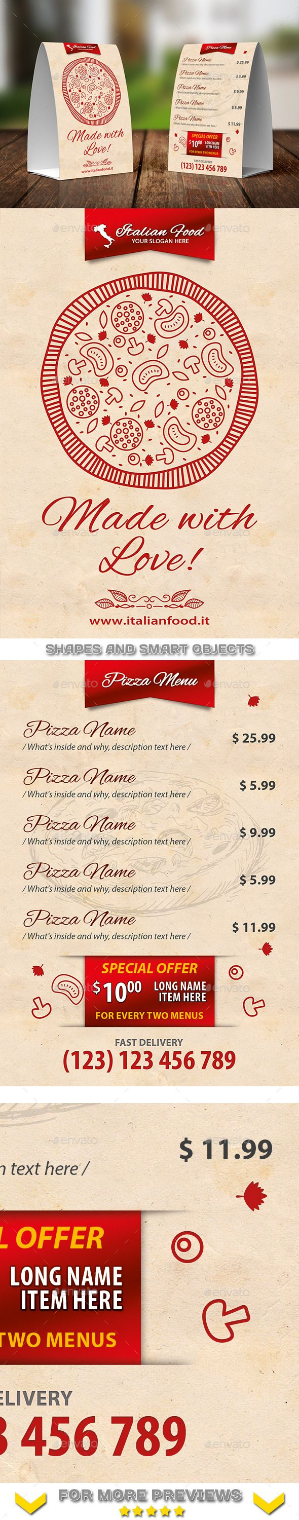Italian Restaurant Menu Table Tent Template 20