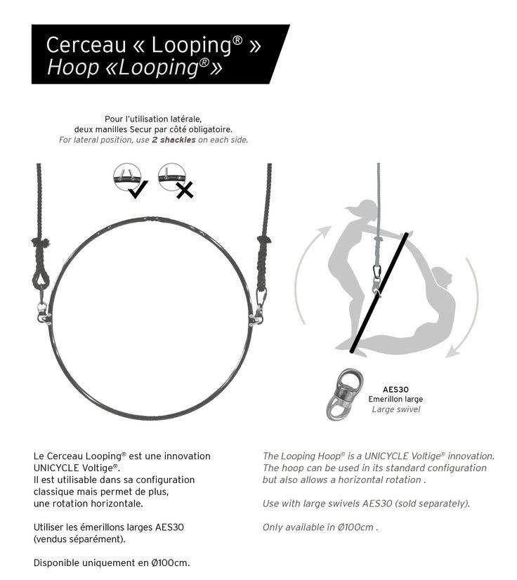 Cerceau 100cm AERIEN 3points - accroche centrale INT. - s/s suspente