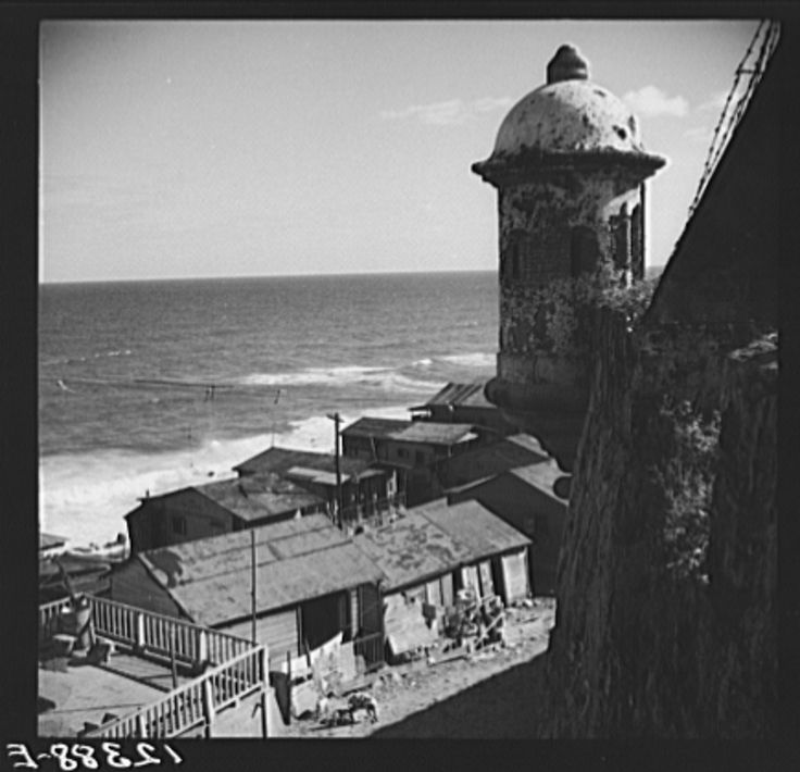 1938 View of a portion of the workers' quarter of La Perla from the old Spanish ramparts. San Juan, Puerto Rico.