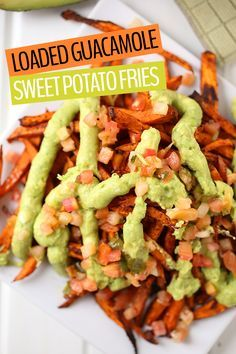 Change it up next game day with these Loaded Guacamole Sweet Potato Fries. Mexic…