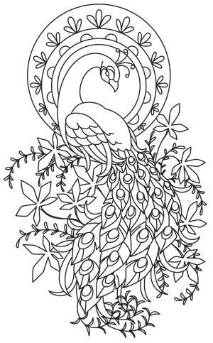 Rich lines form an elegant peacock motif, perfect for home decor and beyond. Downloads as a PDF. Use pattern transfer paper to trace design for hand-stitching.