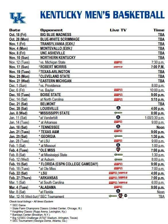 2013 MENS KY BASKETBALL SCHEDULE