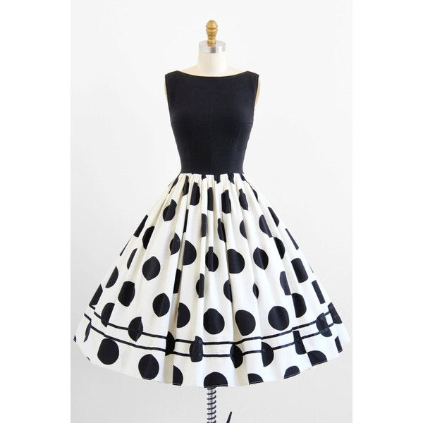 vintage 1950s dress 50s dress Black and White Polkadot Rockabilly... ($146) ❤ liked on Polyvore featuring dresses, vintage rockabilly dress, vintage cocktail dress, black white dress, vintage dresses and polka dot dress