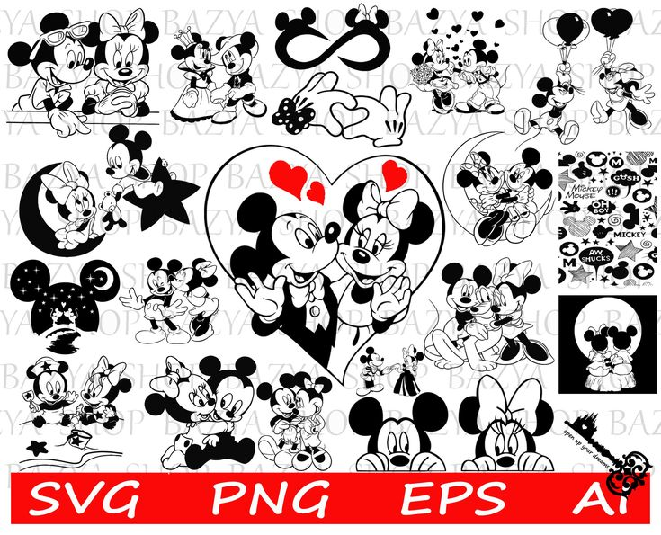 Mickey and Minnie Mouse Bundle SVG TShirt Printing