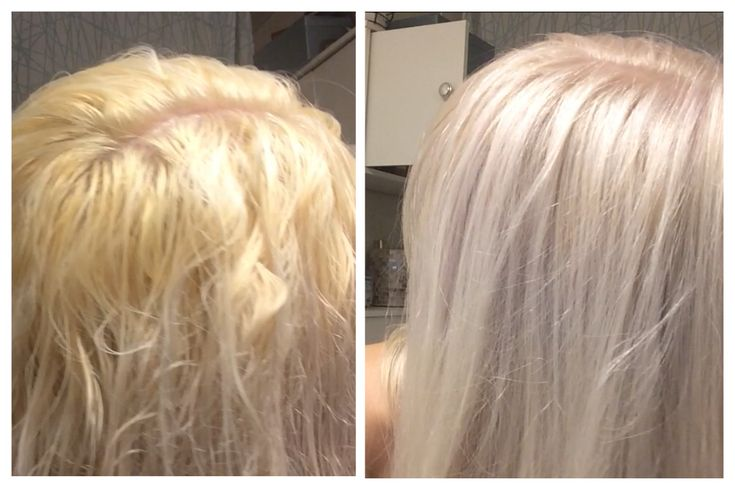 Toning blonde hair from brassy yellow or orange to silvery white platinum with a lavender toner at home!  Paul Mitchell Flash Finish Ultra Violet toner lavendar pale blonde haircolor hair color bleach blond baby silver grey correction fix tone DIY lighten lighter brass lift brighten dye dying correct grey ash