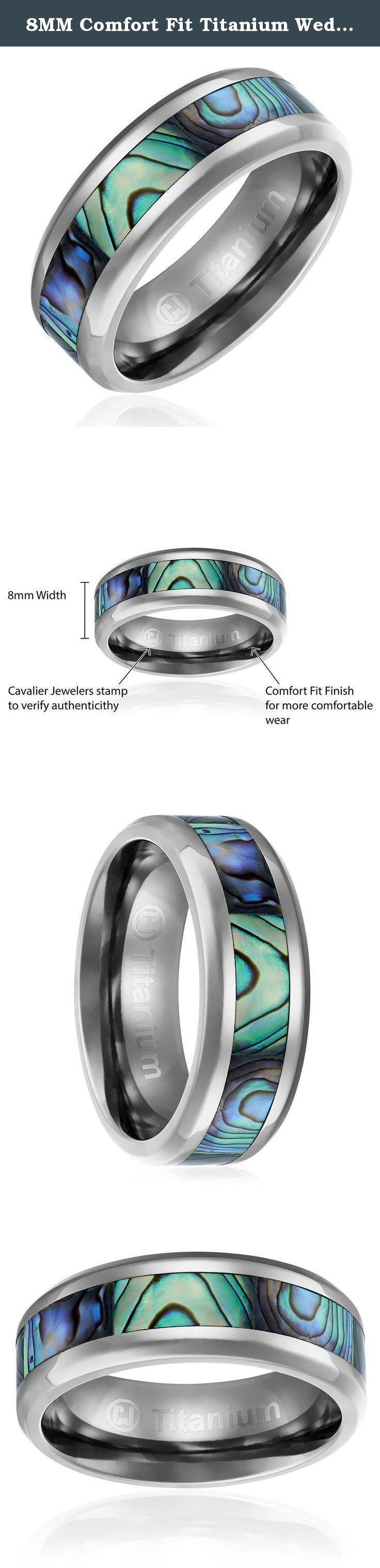 Product spotlight meet the eatsmart precision digital bathroom scale - 8mm Comfort Fit Titanium Wedding Band Engagement Ring With Abalone Shell Inlay Beveled Edges