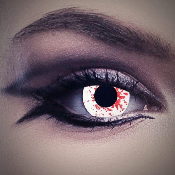 Blut Kontaktlinsen, Farblinsen weiß mit Blutspritzern, Vampirlinsen