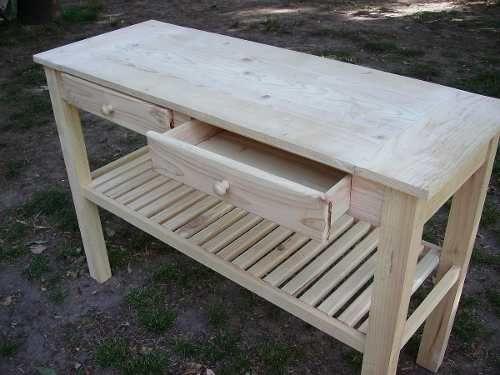 Mesa isla para cocina en pino mesas for Bar movil de madera