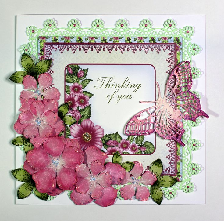 Thinking of you card created with Heartfelt Creations stamps, papers and dies (Tonic die for large outer frame). Anne Waller #heartfeltcreations #stamping #cardmaking