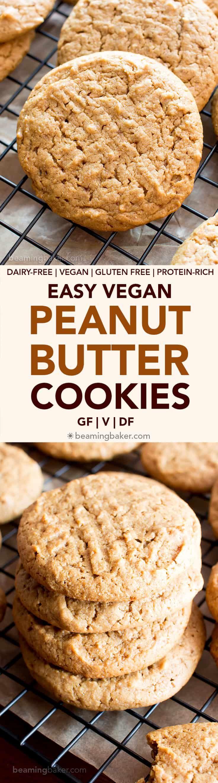 Easy Vegan Peanut Butter Cookies (Gluten Free, Healthy, V, Dairy-Free, Refined Sugar-Free) - Beaming Baker