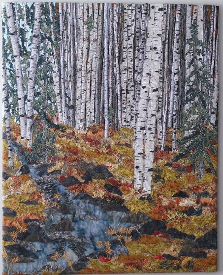 Last Days of September 32x40 #Birch Trees, Fabric Collage Mounted on Canvas Designed by Chris Allaway For Sale $250.00