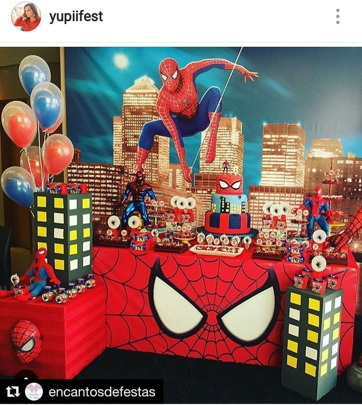 Spider-Man Birthday Party Dessert Table and Decor