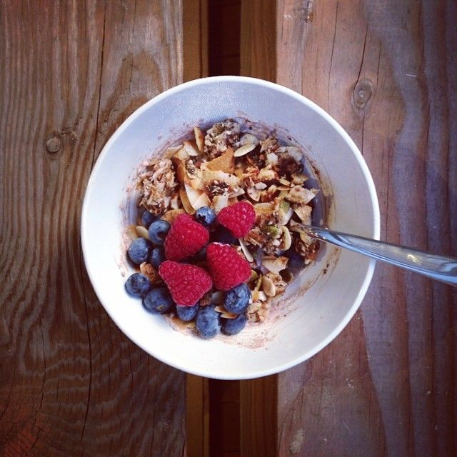 Coco-Nutty granola with full-fat yoghurt and berries.
