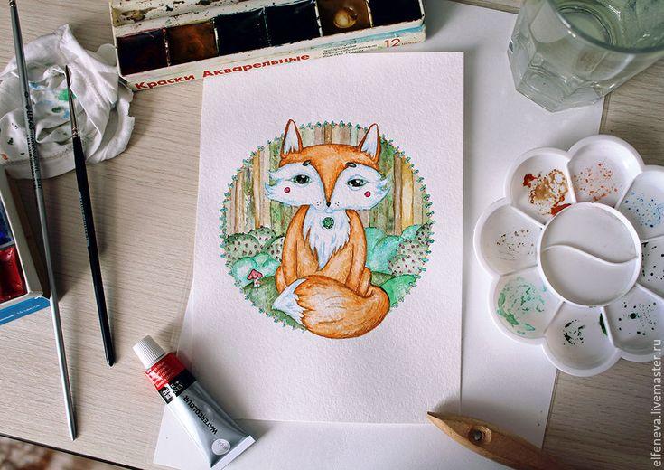 """Купить Акварель """"Лисёнок"""" - лис, лисенок, акварель, акварельная картина, акварельный рисунок, детская"""