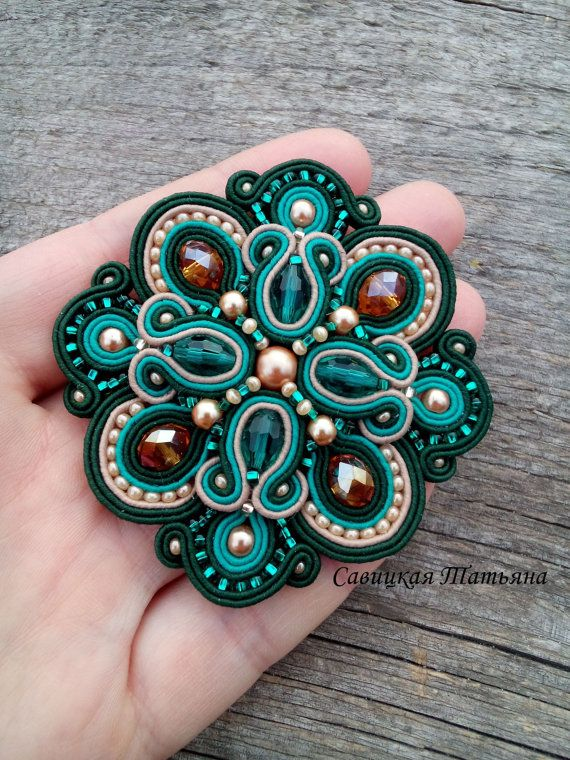 Elegant Emerald Beige Soutache Brooch-Hand Embroidered Soutache Jewelry-Emerald Beige Soutache-Soutache Brooch-Statement Jewelry