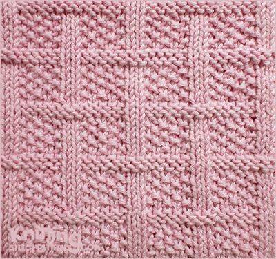 Design Knitting Patterns : Lattice with seed stitch - Square knitting pattern Knit and Purl combinatio...