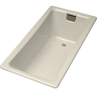 """Kohler K-850 Tea-for-Two Collection 60"""" Drop In Cast Iron Soaking Bath Tub with Reversible Drain"""