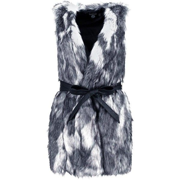 Boohoo Boutique Lacey Multi Faux Fur Gilet With PU Belt | Boohoo (£48) ❤ liked on Polyvore featuring outerwear, vests, gilet vest, faux fur waistcoat, fake fur vest, faux fur gilet vest and faux fur gilet