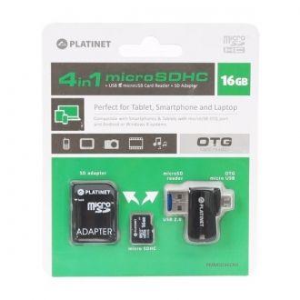 PLATINET 4-in-1 microSD 16GB + adapter SD + adapter USB i MicroUSB OTG Czytnik kart SD/microSD 4 w 1 do tabletów, smartfonów, telefonów komórkowych, PC, aparatów cyfrowych i innych urządzeń z portem USB lub microUSB. Transfer danych bezpośrednio przez port microUSB lub USB na kartę. Slot na kartę microSD, która jest nośnikiem pamięci, został ukryty w końcówce USB, a adapter zyskuje przez to dodatkową funkcję pendriva Plug & Play.
