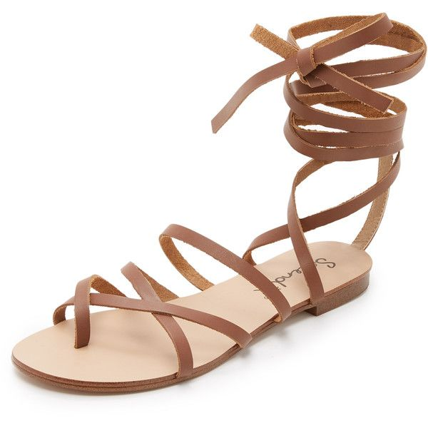 Splendid Carly Lace Up Sandals (38,280 KRW) ❤ liked on Polyvore featuring shoes, sandals, cognac, gladiator sandals, ankle strap gladiator sandals, ankle strap sandals, leather strap sandals and wrap sandals