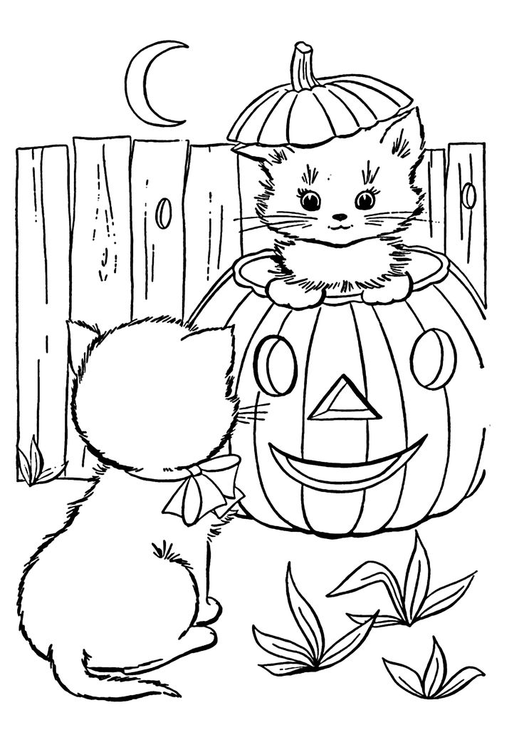 funny halloween cats coloring page for kids printable free happy halloween