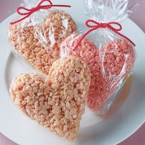 Heart-shaped Rice Kripsie Treats. This is such a classic, you can't skip it on Valentine's Day!
