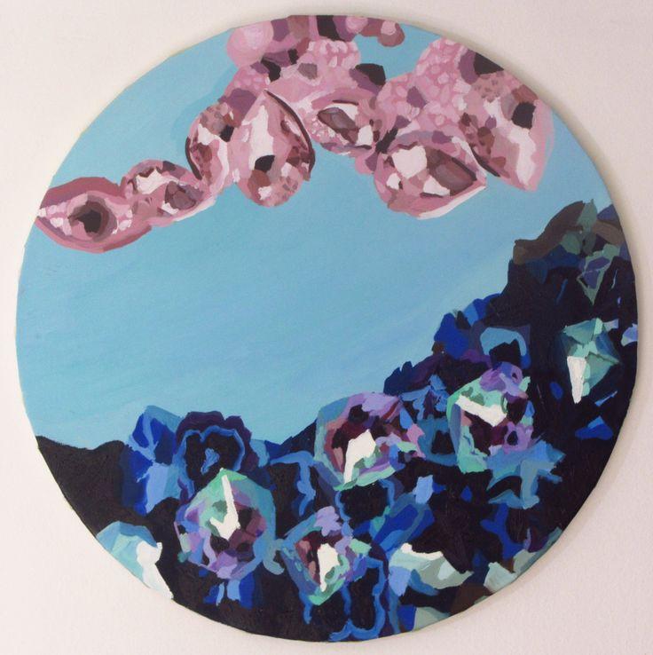 "Anita Varas. ""Minerales"". Óleo sobre tela, 49 cm diámetro. 2014. #art #oiloncanvas #abstractart #painting"