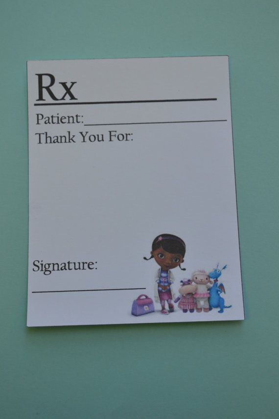 Doc McStuffins Thank you Cards by HokeyPokeyPapers on Etsy, $2.00