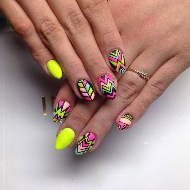 by Ania Leśniewska, Follow us on Pinterest. Find more inspiration at www.indigo-nails.com #nailart #nails #easter #neon #yellow