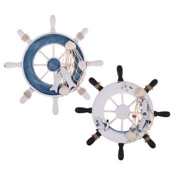 Novo 9 polegada Branco Azul Umiwe Ornamentais Náutico Marinha Enforcamentos Casa Decoração Da Parede De Madeira Do Navio de Pirata Leme Decoração Roda