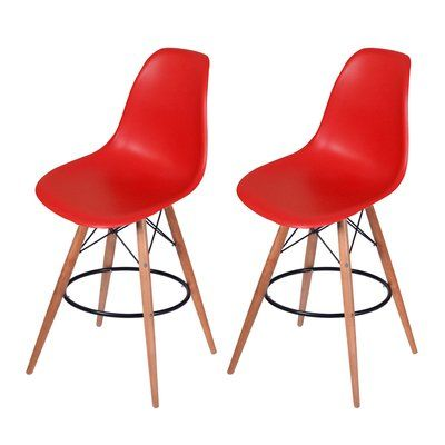 "Mod Made Paris Tower 27"" Bar Stool Upholstery: Red"