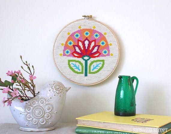 Bloom  Retro Scandi Flower Cross stitch or by SatsumaStreet, $5.00