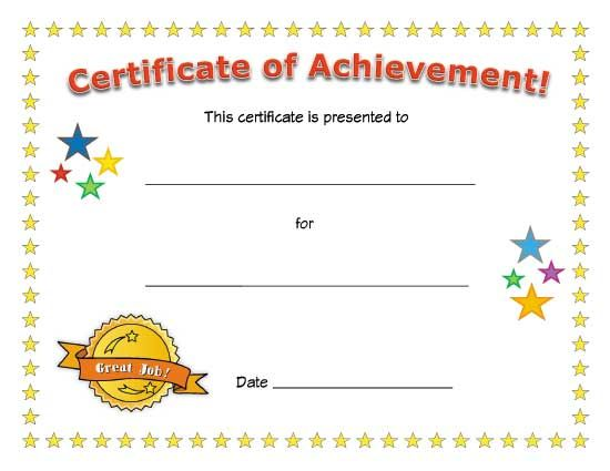 71 best certificates images on pinterest award certificates blank certificate of achievement for kids fill in the details yourself to award a child for a specific achievement with a special certificate yadclub Choice Image