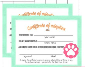These adoption certificates & adoption center sign, match our Kitten & Puppy Party. These are perfect for your partys Pet adoption center - Childrens can fill these form, or have an adult help them. These are so much fun! Each guest gets to take home a sweet pet and their own adoption certificate ♥ [ W H A T S • I N C L U D E D • W I T H • P U R C H A S E ] Youll receive the following printable PDF files: • Customized Adoption Center Sign (8.5x11) •Adoption Certificate for Puppies (8....