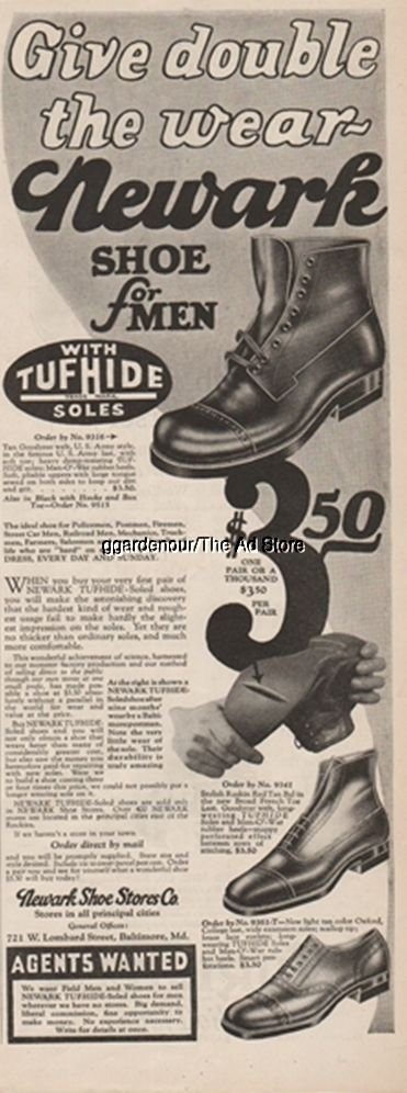 """1925 Newark Shoe Stores Co Baltimore MD 1920s Men's Fashion Style Print Ad FOR SALE • $9.99 • See Photos! Money Back Guarantee. Payment 1925 Newark Shoe Stores Co Baltimore MD 1920s Men's Fashion Style Print Ad Original Magazine AdvertisementCondition Scale: GoodThis collectible magazine advertisement is about: 5"""" X 13 1/2"""" (13 cm 401157694027"""