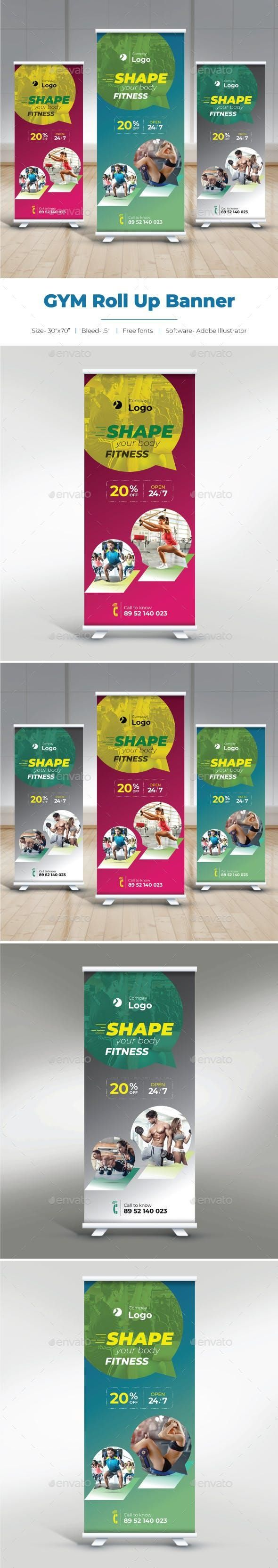 Gym Roll Up Banner #GraphicDesign #marketing #SignageDesign #graphicdesigner #gr...