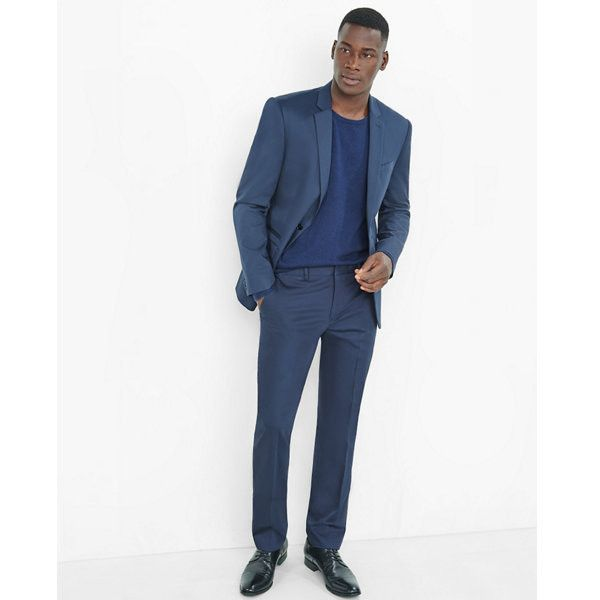 Express Slim Photographer Cotton Sateen Navy Unhemmed Suit ($258) ❤ liked on Polyvore featuring men's fashion, men's clothing, men's suits, blue, mens slim fit suits, mens navy suit, old navy mens clothing, mens slim suits and express mens suits
