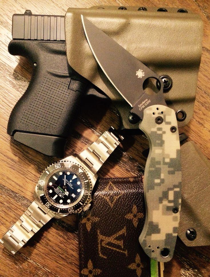 My EDC Glock43, spyderco Paramilitary 2, Rolex Deepsea, LV card holder, Cry Havoc Kydex Holster