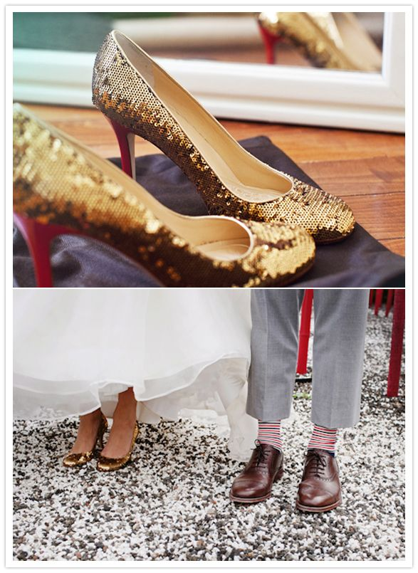 gold sequined wedding shoes: Color Gold, Romantic Wedding, Wedding Shoes, Wedding Ideas, Gold Sequined, Sassy Color