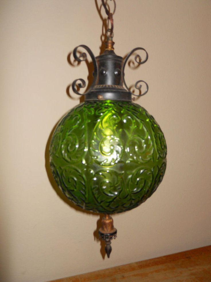 vintage midcentury green glass globe hanging light fixture swag lamp