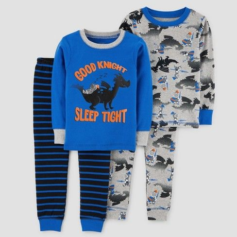 A sleepy knight catching some z's on a dragon? Well, this is a twist on your classic fairytale. Get baby ready for bed with the Good Knight Long-Sleeve Cotton Pajama Set from Just One You® made by carter's. A valiant knight and his trusty steed - well, dragon - make for a cute and witty graphic tee, and can mix and match with the patterned top and bottoms for a variety of fun pajama sets. Only the best for your little knight in shining armor.