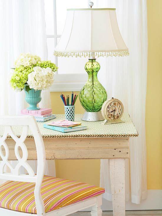 table: Desks Area, Yellow Wall, Tables Toppers, Work Spaces, Workspaces, Green Lamps, Desks Ideas, Glasses Lamps, Desks Spaces