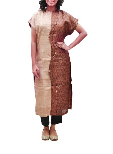 Tussar Silk Rust Beige Printed-Plain Long Kurta- Rs. 6500