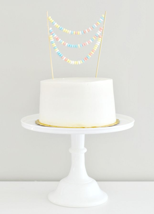 Sweet idea for a birthday cake: Top with a candy necklace. So cute!