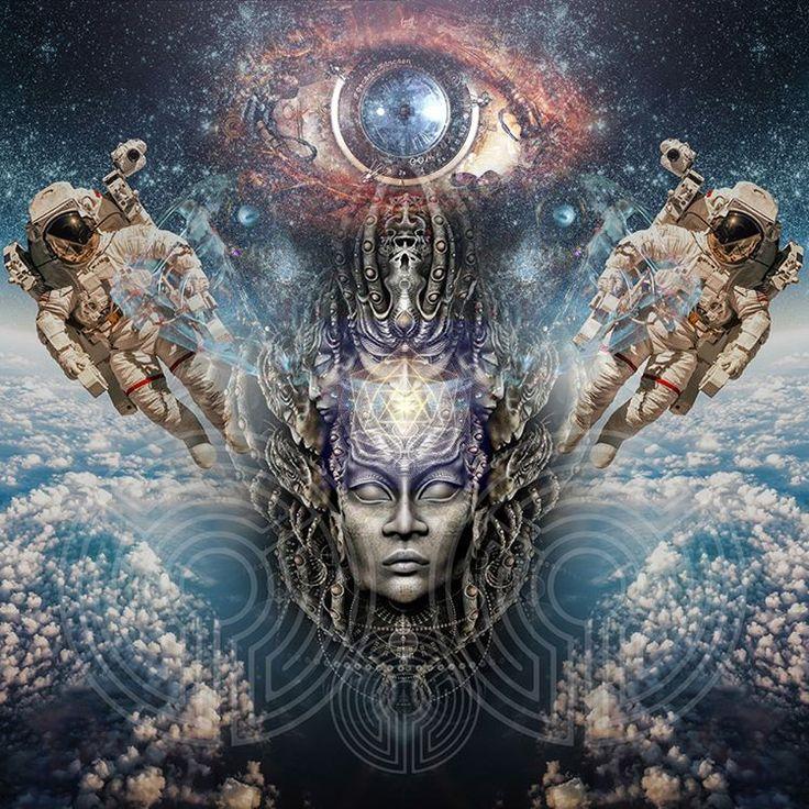 Space Monkeys et les femmes!  #psychedelic #psyart #psychedelicarchive #visual #artist #mushroom #lsd #effect #collage #mix #spacejump #lightarea #weed #luminokaya #backdrop #layers