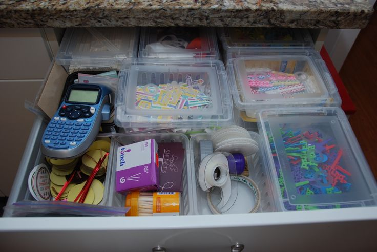 Miscellaneous Drawer - Got those transparent boxes from Home Depot - the ones with no cover are from Dollarama....