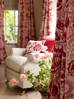 red & white floral drapes: