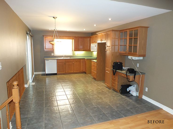 """Spring Blossom Drive Before:  Kitchen cabinets with the """"Golden Oak disease"""""""